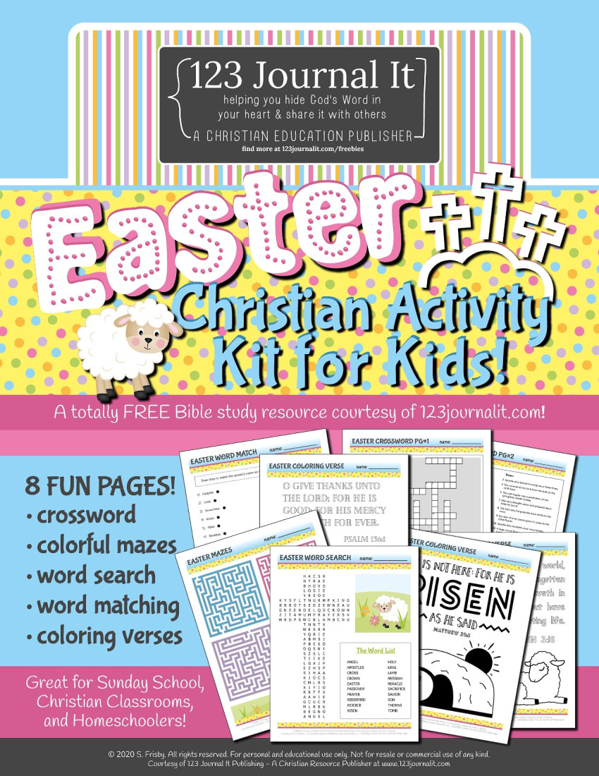 Free Printable Easter Themed Christian Activity Kit for Kids with a Crossword, Word Search, Mazes, and Coloring Pages from the Bible